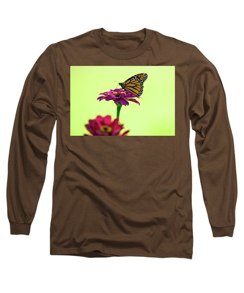 Monarch On A Zinnia Long Sleeve T-Shirt by Shelly Gunderson