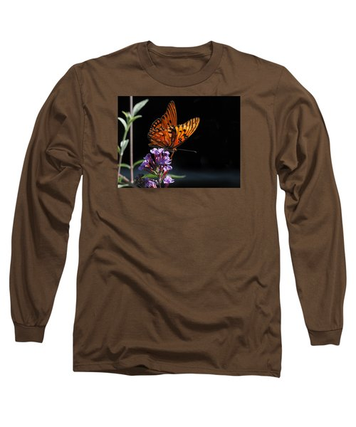 Monarch On Purple Flowers Long Sleeve T-Shirt