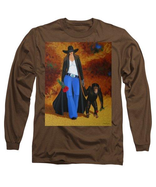 Monkeys Best Friend Long Sleeve T-Shirt by Lance Headlee