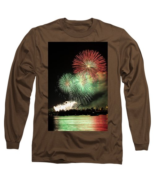 Montreal-fireworks Long Sleeve T-Shirt by Mircea Costina Photography