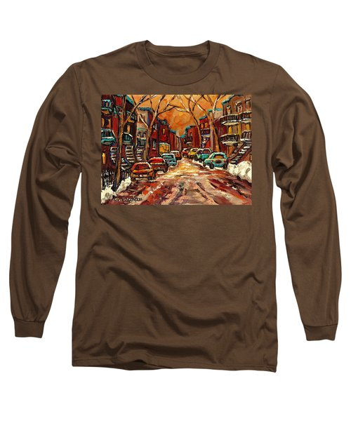 Montreal Streets In Winter Long Sleeve T-Shirt