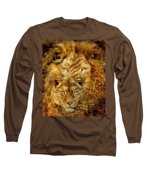 Long Sleeve T-Shirt featuring the mixed media Moods Of Africa - Lions 2 by Carol Cavalaris