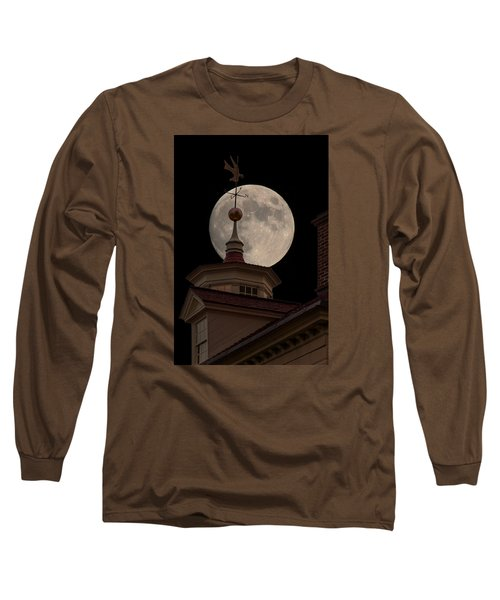 Moon Over Mount Vernon Long Sleeve T-Shirt by Ed Clark