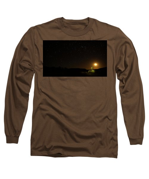 Long Sleeve T-Shirt featuring the photograph Moon Set Over Palm Valley by Paul Svensen