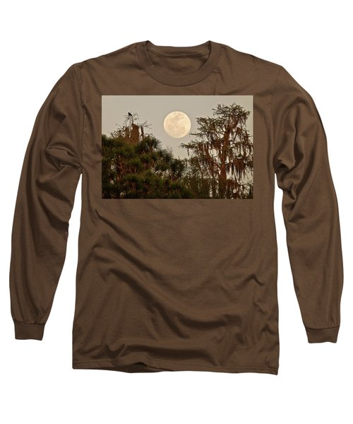 Moonrise Over Southern Pines Long Sleeve T-Shirt