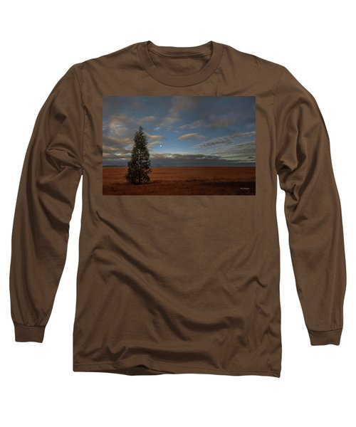 Moonset  In A Large Morning Sky Long Sleeve T-Shirt