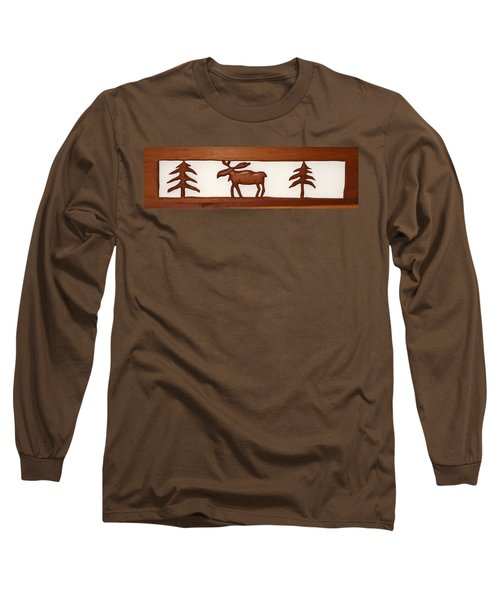 Long Sleeve T-Shirt featuring the mixed media Moose Walking Through The Forest by Robert Margetts