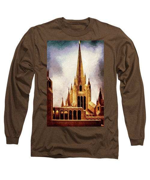 Mormon Temple Steeple Long Sleeve T-Shirt by Joseph Hollingsworth