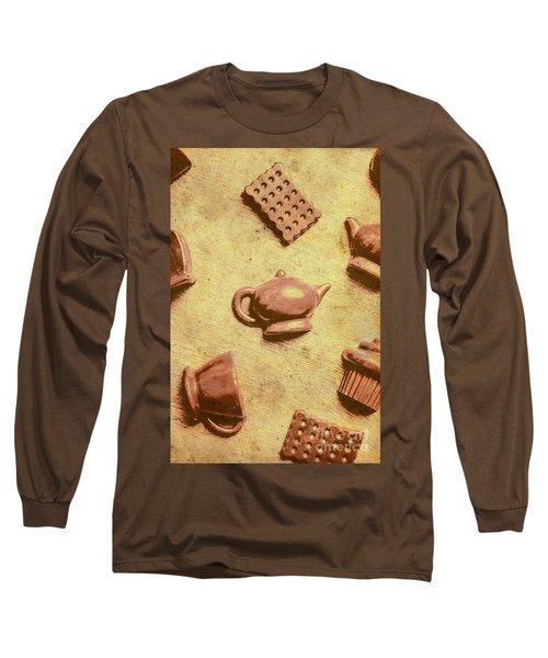 Morning Breakfast Chocolate Tea Set  Long Sleeve T-Shirt