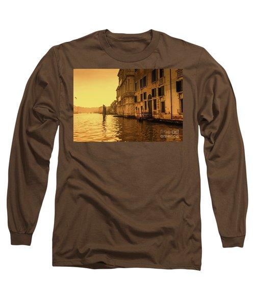 Morning In Venice Sepia Long Sleeve T-Shirt
