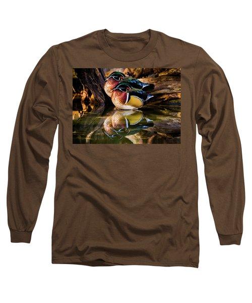 Morning Reflections - Wood Ducks Long Sleeve T-Shirt
