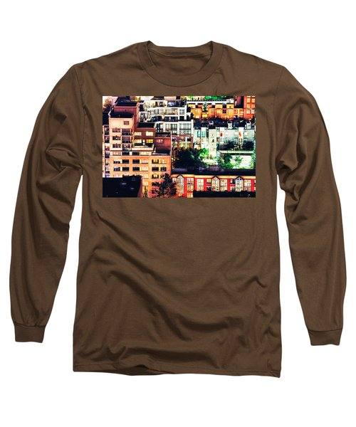 Mosaic Juxtaposition By Night Long Sleeve T-Shirt by Amyn Nasser