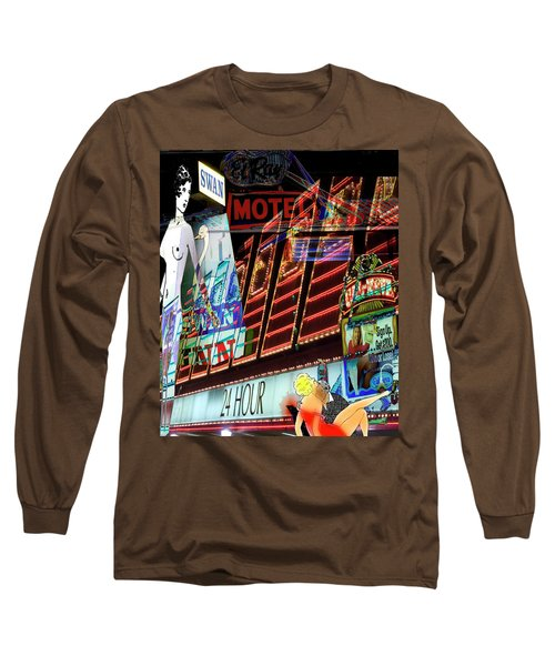 Motel Variations 24 Hours Long Sleeve T-Shirt by Ann Tracy