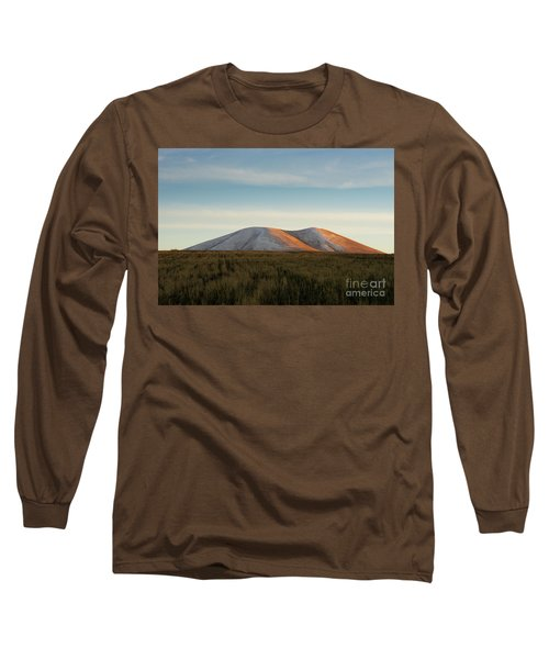 Mount Gutanasar In Front Of Wheat Field At Sunset, Armenia Long Sleeve T-Shirt by Gurgen Bakhshetsyan