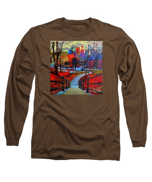 Long Sleeve T-Shirt featuring the painting Mount Royal Peel's Exit by Marie-Line Vasseur