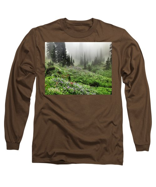 Mt Rainier Wildflowers Long Sleeve T-Shirt