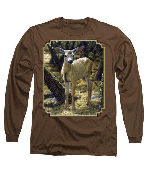 Mule Deer Fawn - Monarch Moment Long Sleeve T-Shirt by Crista Forest