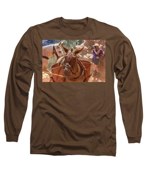 Mule Train On The South Kaibab Trail Long Sleeve T-Shirt