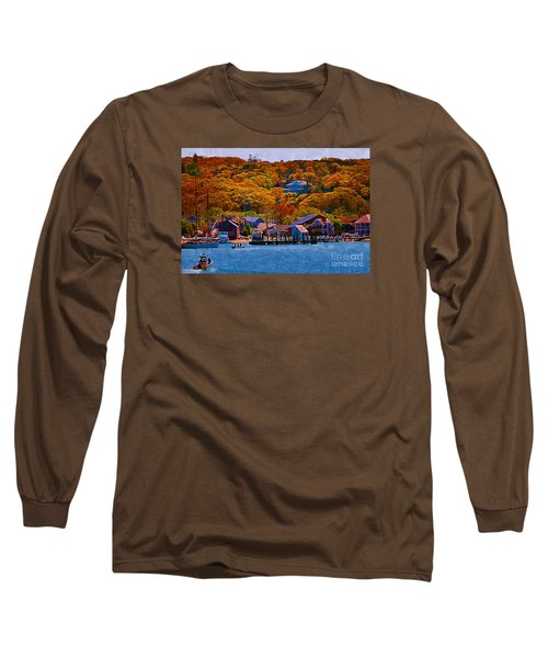Long Sleeve T-Shirt featuring the digital art New England Fall Coastline by Kirt Tisdale