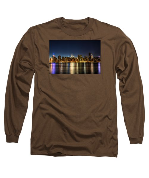 Long Sleeve T-Shirt featuring the photograph New York City Skyline by Rafael Quirindongo