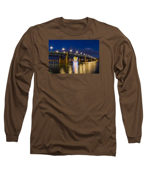 Long Sleeve T-Shirt featuring the photograph Night Shot Of The Pont Saint-pierre by Semmick Photo