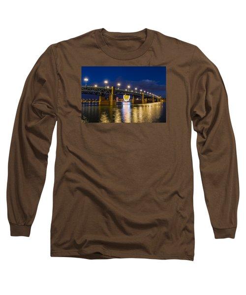 Night Shot Of The Pont Saint-pierre Long Sleeve T-Shirt by Semmick Photo