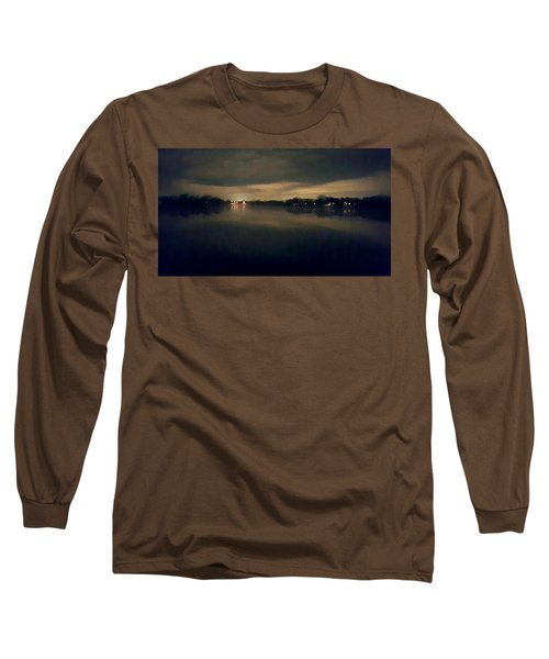 Night Sky Over Lake With Clouds Long Sleeve T-Shirt