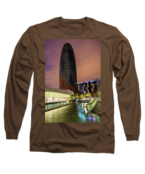 Night View Of Torre Agbar Long Sleeve T-Shirt