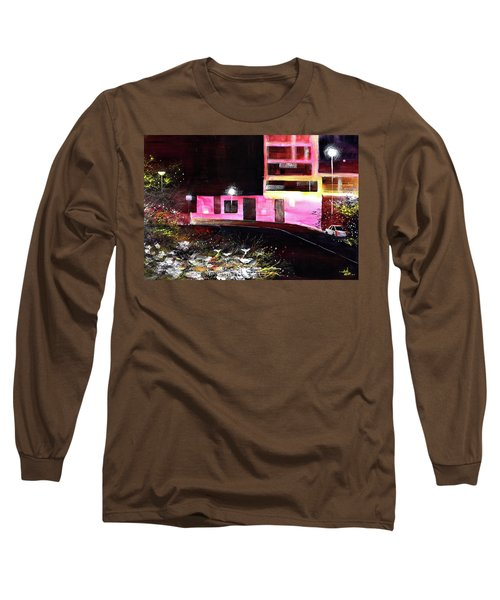 Long Sleeve T-Shirt featuring the painting Night Walk by Anil Nene