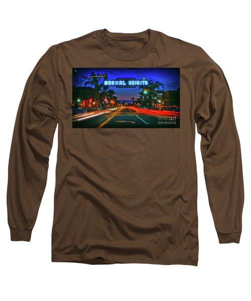 Nighttime Neon In Normal Heights, San Diego, California Long Sleeve T-Shirt