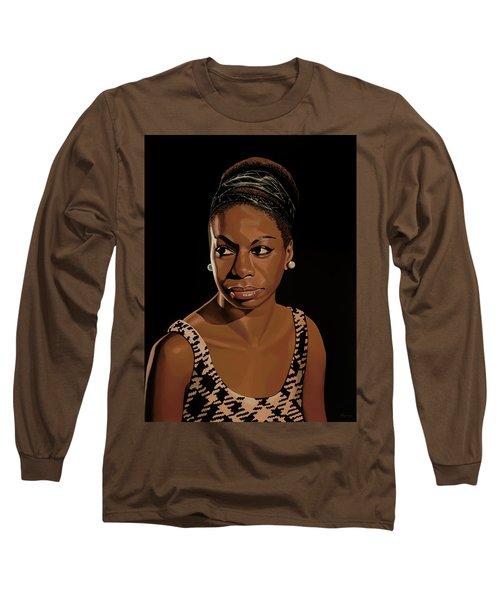 Nina Simone Painting 2 Long Sleeve T-Shirt by Paul Meijering