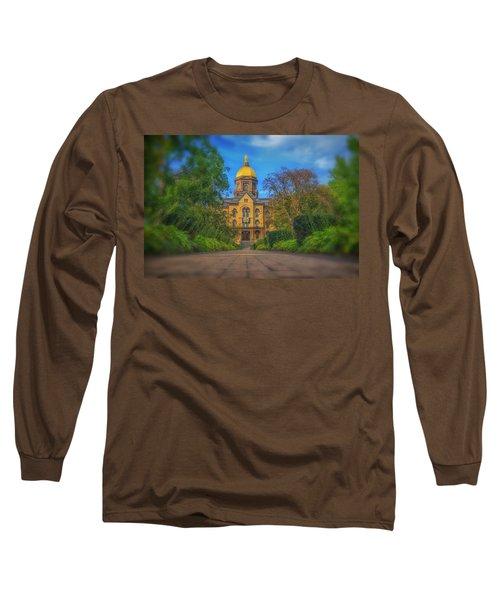 Notre Dame University Q2 Long Sleeve T-Shirt by David Haskett