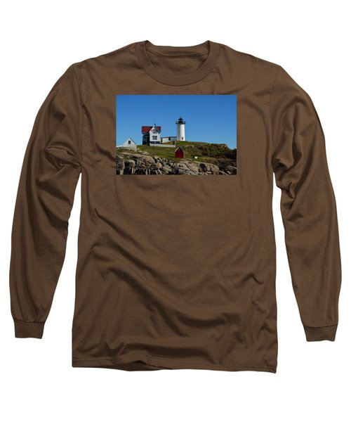 Nubble Lighthouse In Ogunquit  Long Sleeve T-Shirt by Richard Ortolano