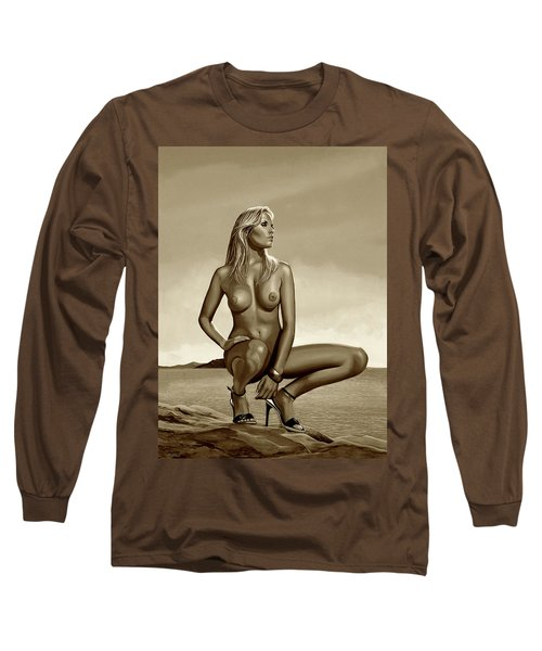 Nude Blond Beauty Sepia Long Sleeve T-Shirt