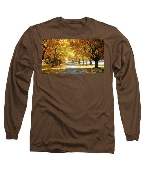 Oak Tree Avenue In Autumn Long Sleeve T-Shirt