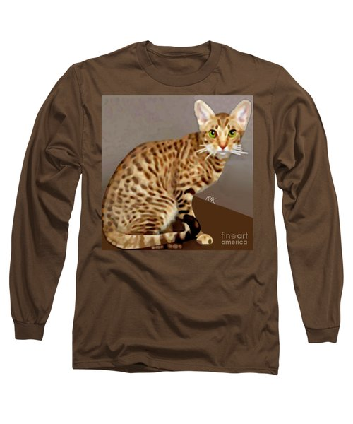 Long Sleeve T-Shirt featuring the painting Ocicat by Marian Cates
