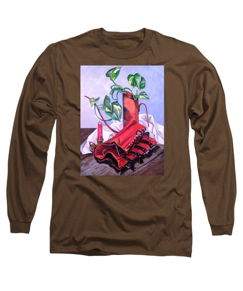 Long Sleeve T-Shirt featuring the painting Oil Can And Corset by Laura Aceto