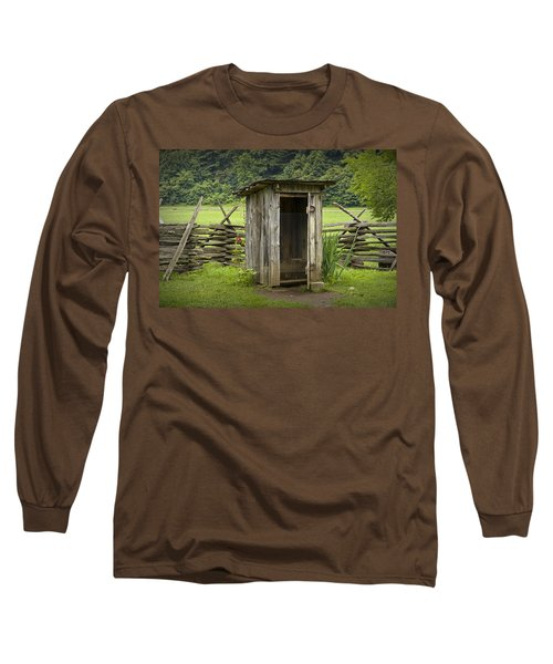 Old Outhouse On A Farm In The Smokey Mountains Long Sleeve T-Shirt