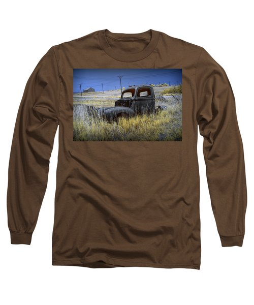 Old Truck In Infrared Lying In The Grass At The Ghost Town By Okaton South Dakota Long Sleeve T-Shirt