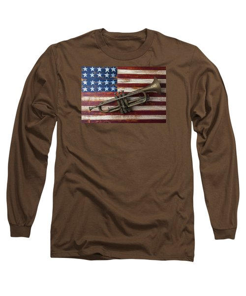 Old Trumpet On American Flag Long Sleeve T-Shirt by Garry Gay
