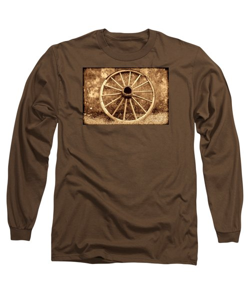 Old Wagon Wheel Long Sleeve T-Shirt by American West Legend By Olivier Le Queinec