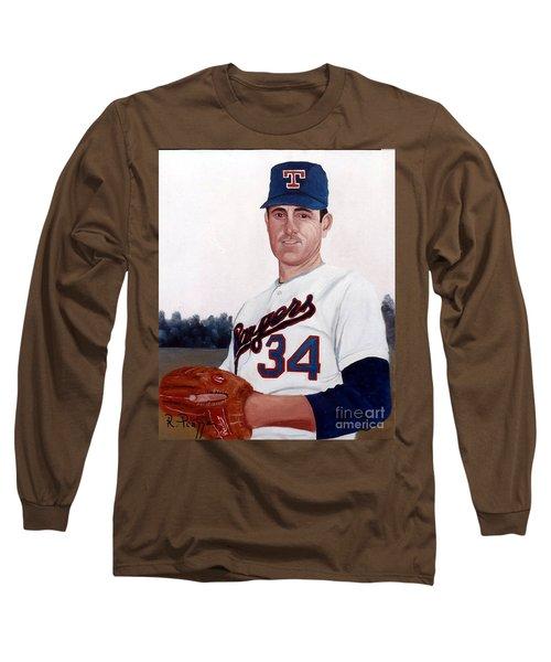 Older Nolan Ryan With The Texas Rangers Long Sleeve T-Shirt
