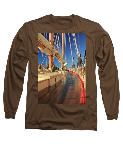 Long Sleeve T-Shirt featuring the photograph On Deck Of The Schooner Eastwind by Roupen  Baker