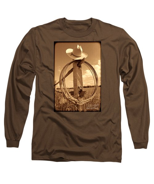 On The American Ranch Long Sleeve T-Shirt by American West Legend By Olivier Le Queinec