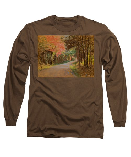Long Sleeve T-Shirt featuring the digital art One More Country Road by John Selmer Sr