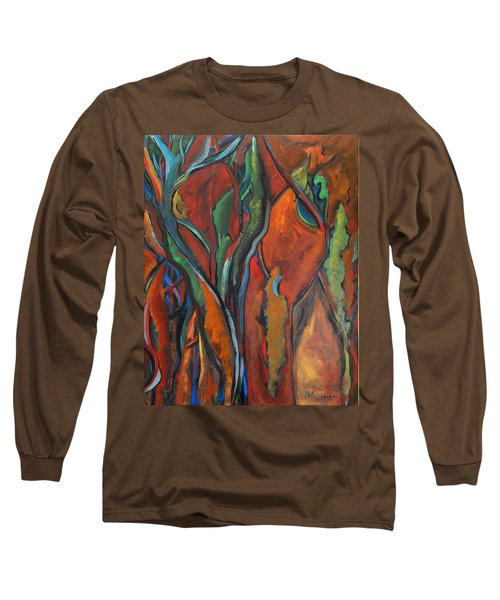 Orange Abstract Long Sleeve T-Shirt