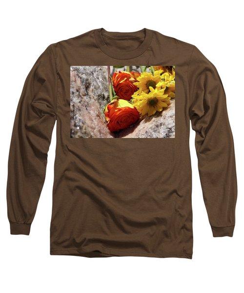Orange And Yellow On Pink Granite Long Sleeve T-Shirt