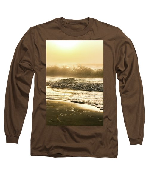Long Sleeve T-Shirt featuring the photograph Orange Beach Sunrise With Wave by John McGraw