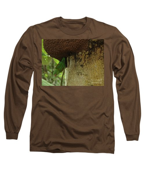 Orange -chinned Parakeet  On A Termite Mound Long Sleeve T-Shirt