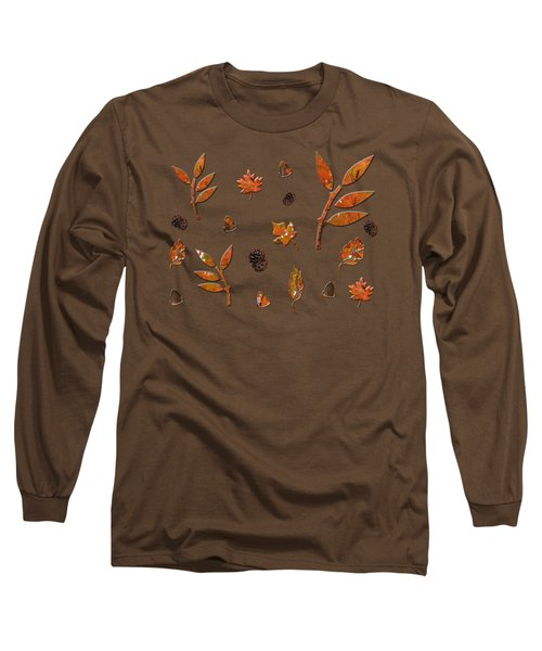 Long Sleeve T-Shirt featuring the photograph Orange Leaves Pine Cones by Rockin Docks Deluxephotos
